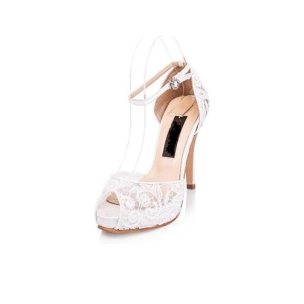 Kvinnor Spets Stilettklack Peep Toe Plattform Sandaler Beach Wedding Shoes