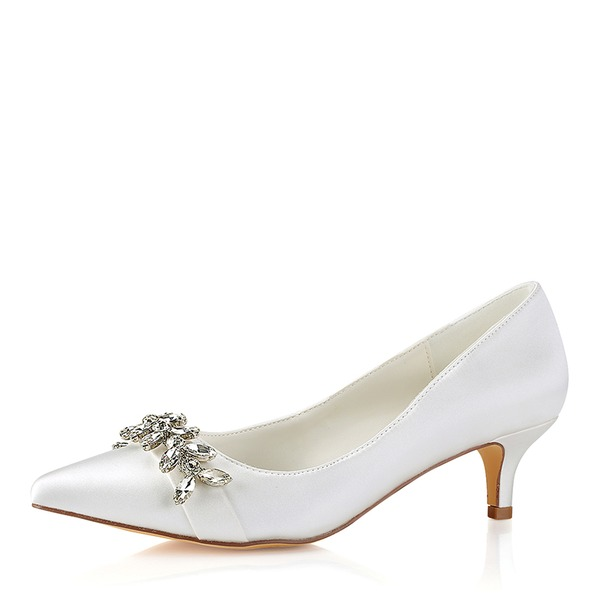 Women's Silk Like Satin Chunky Heel Closed Toe Pumps With Crystal