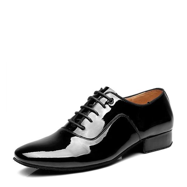 Hommes Cuir verni Latin Modern Style Salle de bal Swing avec Dentelle Chaussures de danse