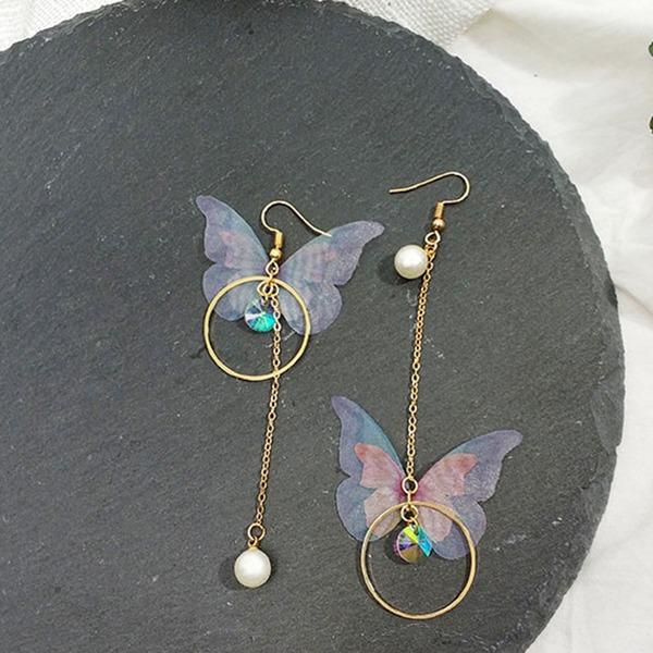 Schickes Legierung Faux-Perlen mit Nachahmungen von Perlen Frauen Art-Ohrringe (Set von 2)