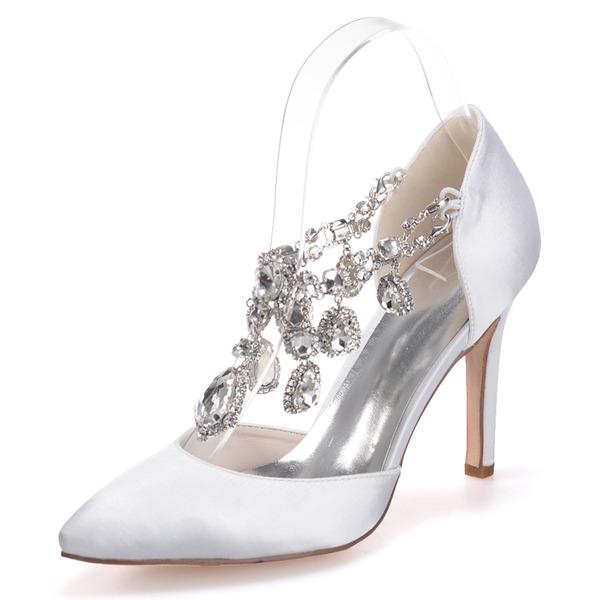 Женщины Атлас Высокий тонкий каблук Закрытый мыс На каблуках с горный хрусталь хрусталь