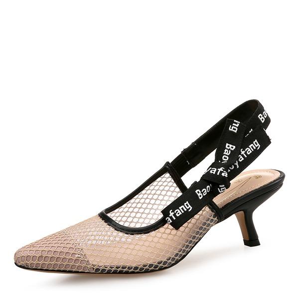 Frauen Mesh Kätzchen Absatz Sandalen Geschlossene Zehe Slingpumps mit Bowknot Gummiband Schuhe
