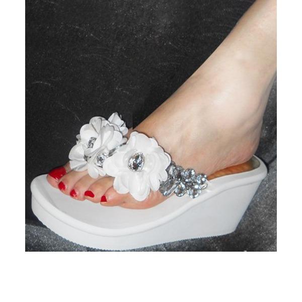 Kadın Corn Bran Dolgu Topuk Takozlar Terlik Ile Yapay elmas Çiçek(ler) ayakkabı