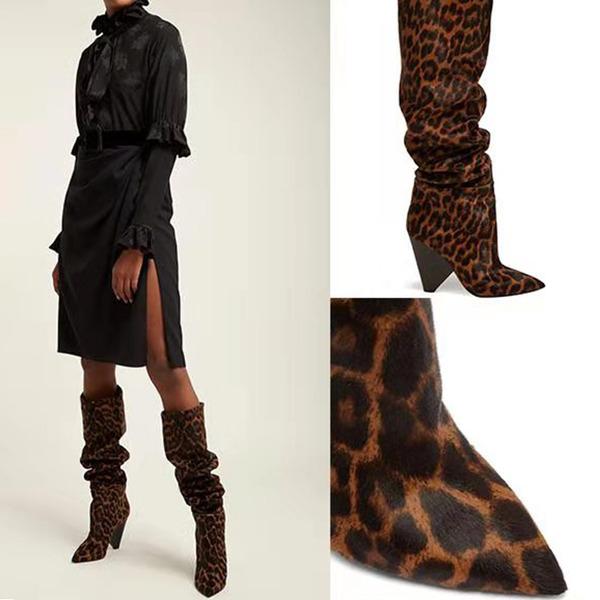 Kadın Kumaş Kalın Topuk Diz Yüksek Boots Ile Hayvan baskı ayakkabı