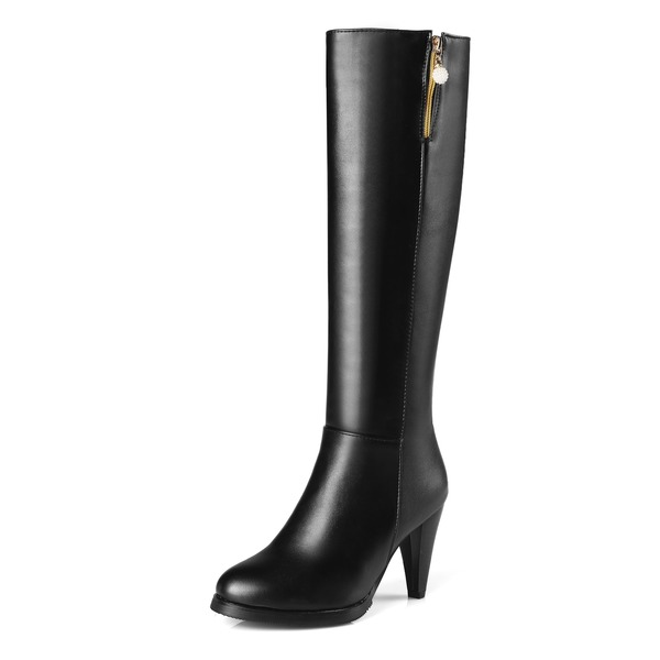 Women's PU Stiletto Heel Pumps Boots Knee High Boots With Zipper shoes