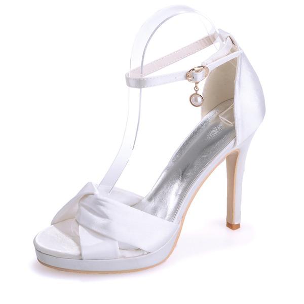 Women's Satin Stiletto Heel Peep Toe Platform Sandals With Buckle