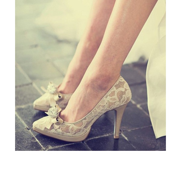 Women's Lace Real Leather Stiletto Heel Closed Toe Platform Beach Wedding Shoes With Rhinestone Ribbon Tie