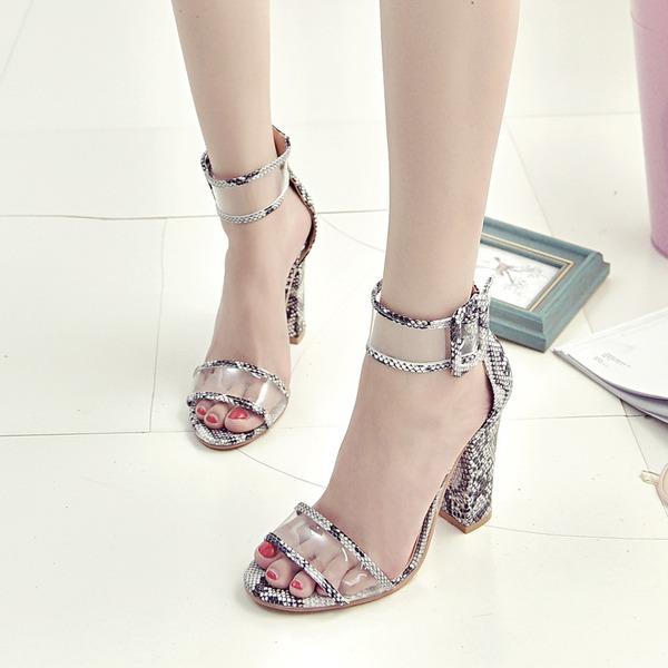 Femmes PVC Talon bottier Sandales Escarpins À bout ouvert avec Boucle chaussures