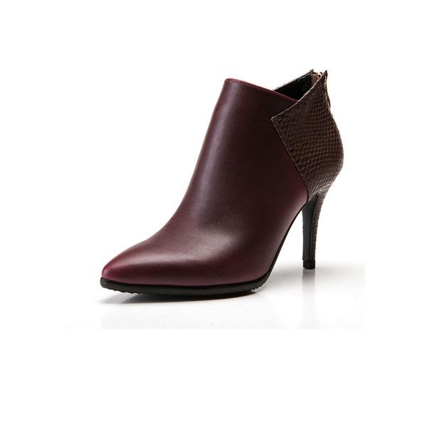 Kunstleder Stöckel Absatz Absatzschuhe Stiefelette mit Zweiteiliger Stoff Schuhe