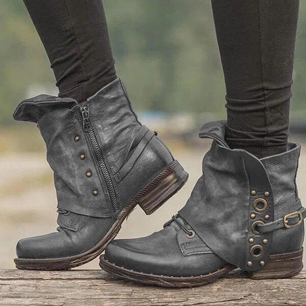 Kadın Suni deri Kalın Topuk Bot Ile Fermuar ayakkabı