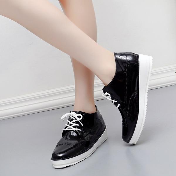Femmes PVC Talon compensé Chaussures plates avec Dentelle chaussures