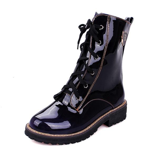 Femmes Cuir verni Talon bottier Bottes Bottes mi-mollets Martin bottes avec Dentelle chaussures