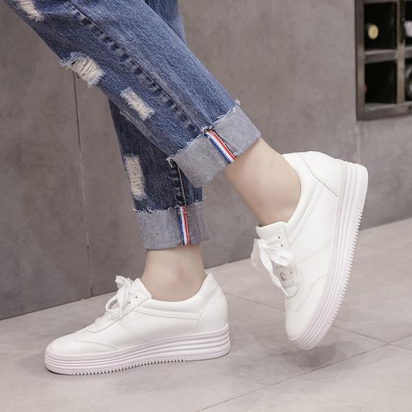 Kadın PU Dolgu Topuk Platform Takozlar Ile Bağcıklı ayakkabı