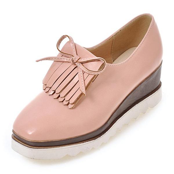 Mulheres Couro Plataforma Calços com Franja sapatos