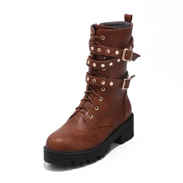 Femmes Similicuir Talon bottier Bottes Bottes mi-mollets avec Rivet Boucle Zip chaussures