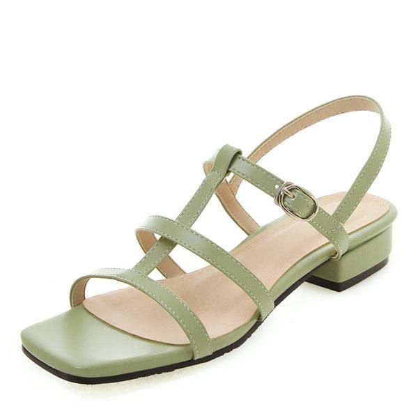 Mulheres Couro Brilhante Salto robusto Sandálias Peep toe sapatos