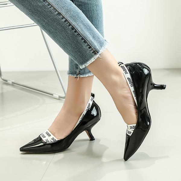 Donna Pelle verniciata Tacco a spillo Stiletto Punta chiusa con Fascia di gomma scarpe