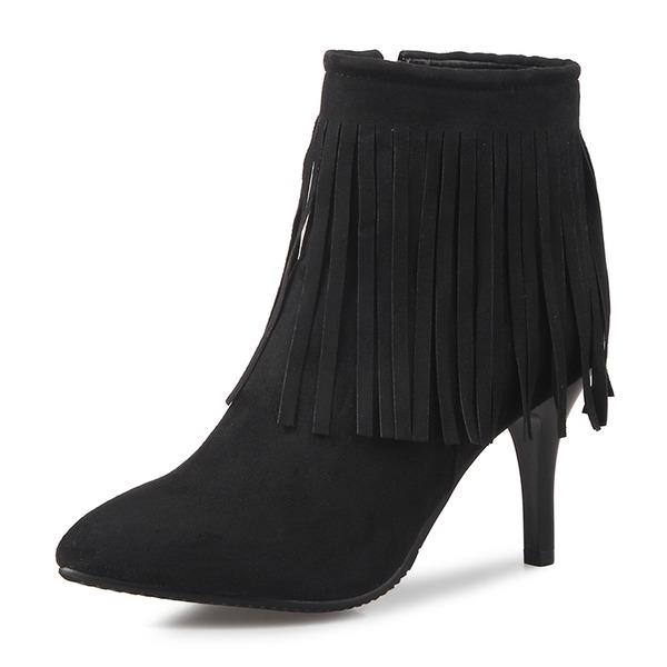 Frauen Veloursleder Stöckel Absatz Absatzschuhe Geschlossene Zehe Stiefel Stiefelette Stiefel-Wadenlang mit Reißverschluss Quaste Schuhe