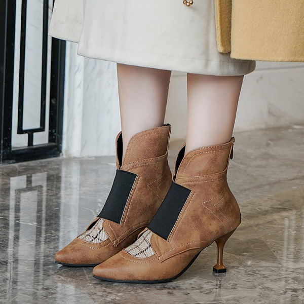 De mujer Cuero Tacón stilettos Salón Botas Botas al tobillo أحذية