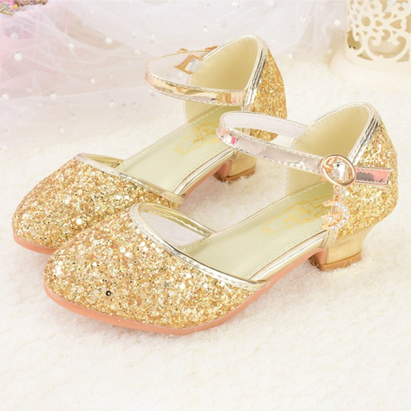 Jentas Round Toe Lukket Tå Leather Sparkling Glitter lav Heel Flower Girl Shoes