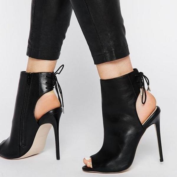 Donna PU Tacco a spillo Stiletto Stivali Punta aperta Con cinturino Stivali alla caviglia con Allacciato scarpe