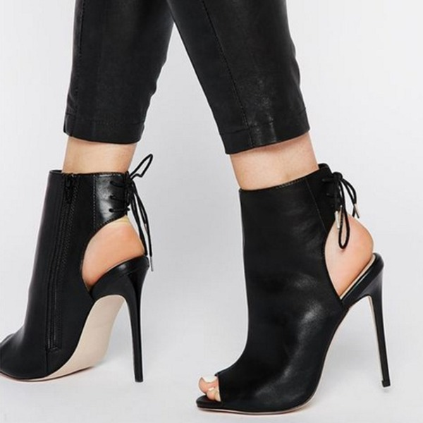 Kvinnor PU Stilettklack Pumps Stövlar Peep Toe Slingbacks Boots med Bandage skor