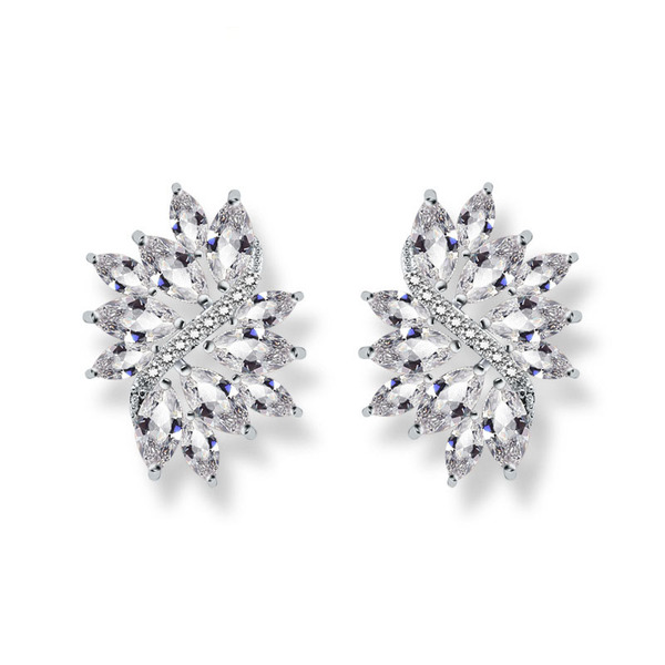 Ladies' Stylish Copper/Cubic Zirconia Cubic Zirconia Earrings For Bride