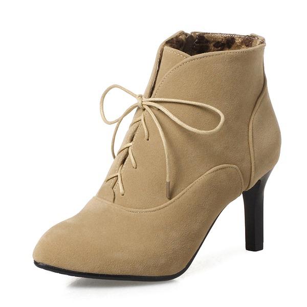 Frauen Veloursleder Stöckel Absatz Absatzschuhe Stiefel Stiefelette mit Reißverschluss Zuschnüren Schuhe