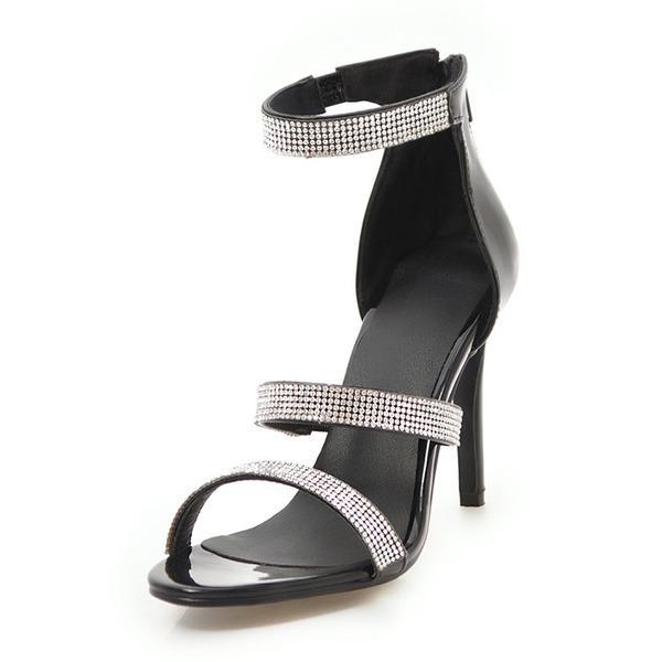 Femmes PU Talon stiletto Sandales Escarpins À bout ouvert avec Strass Cristal Zip chaussures