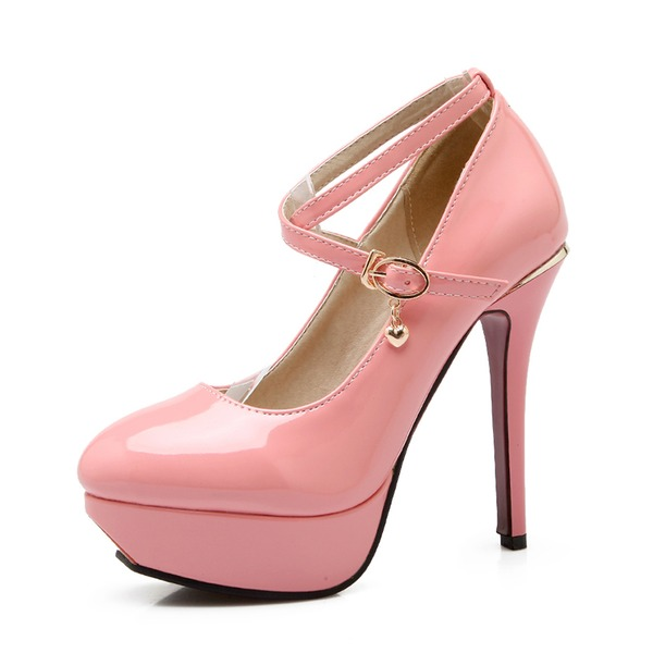 Frauen Lackleder Stöckel Absatz Absatzschuhe Plateauschuh mit Schnalle Schuhe