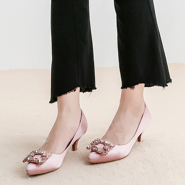 Kvinner silke som sateng Stiletto Hæl Pumps med Crystal sko