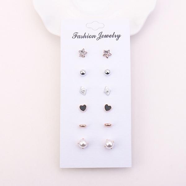 Мода Стразы Перлы ложный медь женские серьги