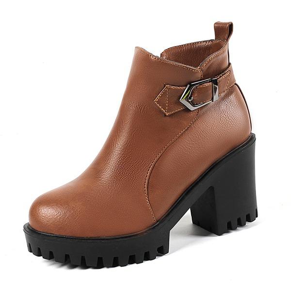 Donna Similpelle Tacco a spillo Stiletto Punta chiusa Stivali Stivali alla caviglia con Fibbia Cerniera scarpe