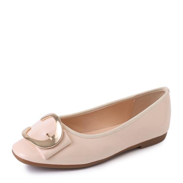Donna Pelle verniciata Senza tacco Ballerine Punta chiusa con Fibbia scarpe