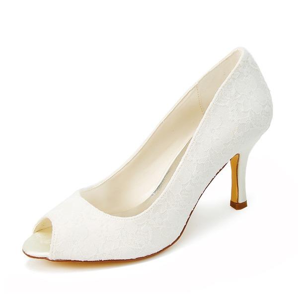 Women's Lace Spool Heel Peep Toe Sandals