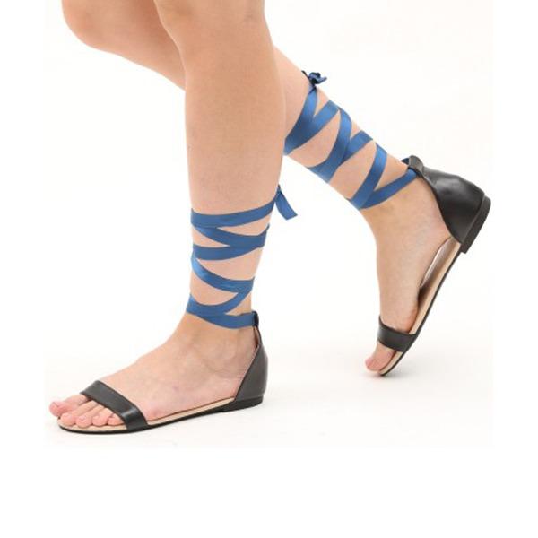 Femmes PU Talon plat Sandales Chaussures plates À bout ouvert avec Cravate ruban Dentelle chaussures