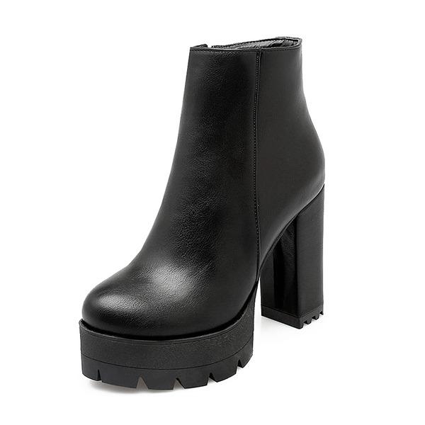 Frauen Kunstleder Stämmiger Absatz Absatzschuhe Plateauschuh Geschlossene Zehe Stiefel Stiefelette mit Reißverschluss Schuhe