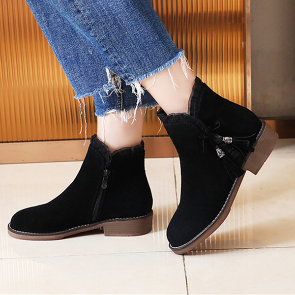 Women's Suede Chunky Heel Ankle Boots With Satin Flower Zipper Tassel shoes