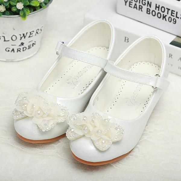 Mädchens Geschlossene Zehe Leder niedrige Ferse Flache Schuhe Blumenmädchen Schuhe mit Schnalle Satin Schleife Kristall
