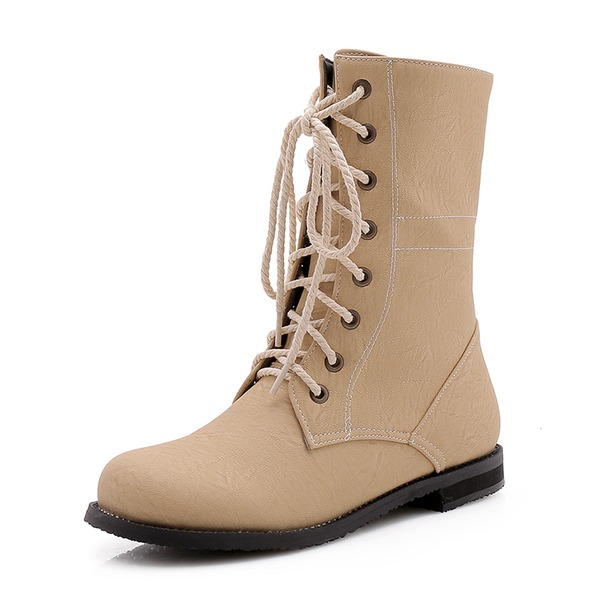 Women's Leatherette Flat Heel Boots Martin Boots With Lace-up shoes