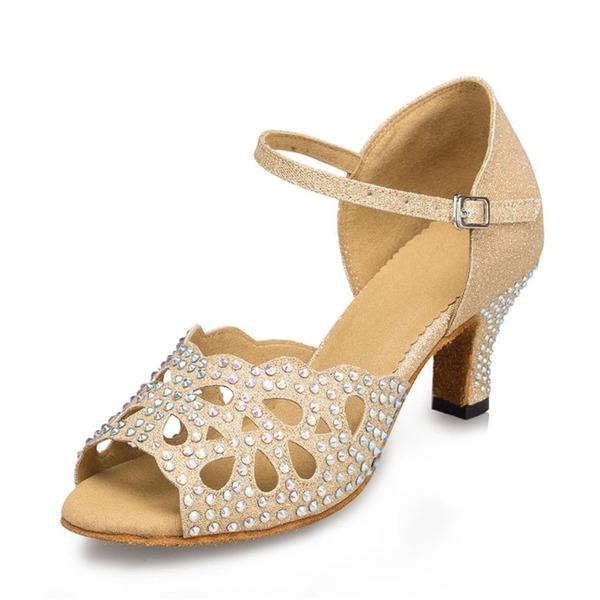 Dla kobiet Tkanina Sparkling Glitter Obcasy Sandały Latynoska Z Rhinestone Buty do Tańca