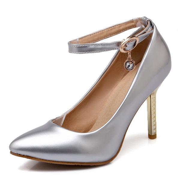 De mujer Cuero Tacón stilettos Salón Cerrados con Hebilla zapatos