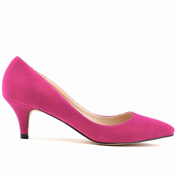 Kadın Süet Sivri Topuk Pompalar Kapalı Toe ayakkabı