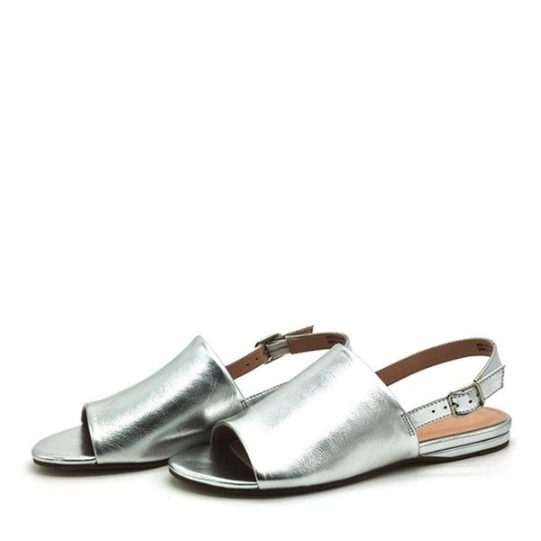 Naisten PVC Matalakorkoiset Heel Sandaalit Matalakorkoiset Peep toe Kantiohihnakengät jossa Solki kengät