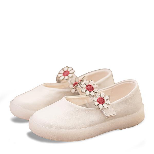Muchacha Punta Cerrada Mary Jane Kunstleder Talón plano Planos Zapatos de niña de las flores con Velcro Flor