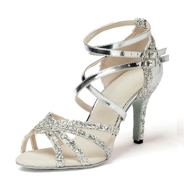 Donna Similpelle Glitter scintillanti Tacchi Sandalo Latino Scarpe da ballo