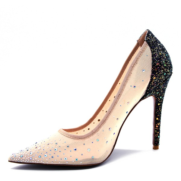 Women's Sparkling Glitter Mesh Stiletto Heel Pumps Closed Toe With Rhinestone shoes
