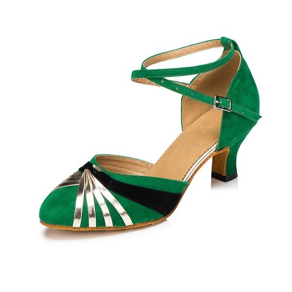 Femmes Suède Talons Escarpins Salle de bal avec Boucle Chaussures de danse