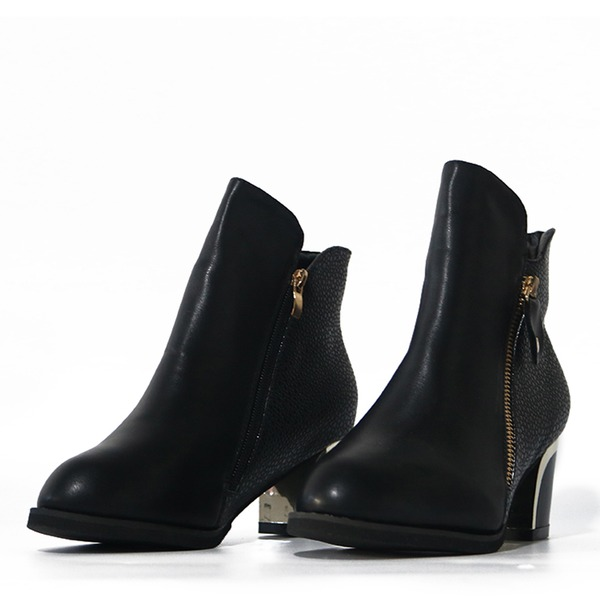 Kvinner PU Stor Hæl Pumps Støvler med Glidelås sko