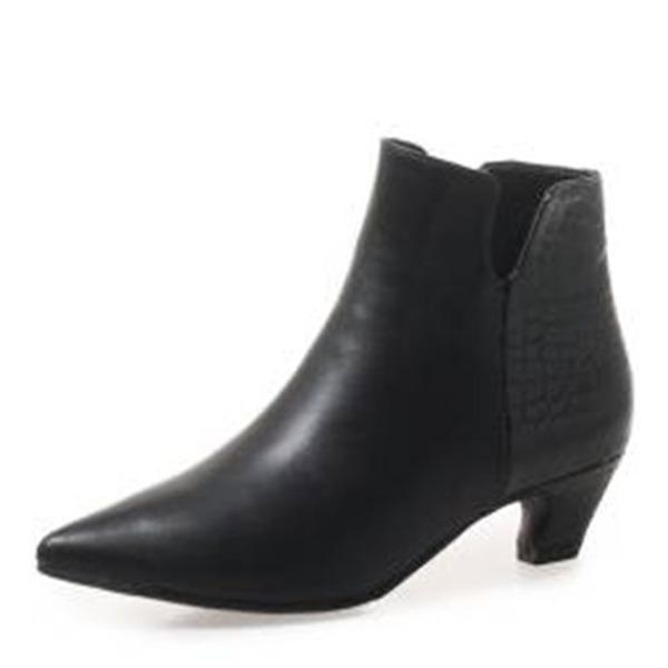 Kvinner Lær Lav Hæl Støvler Ankelstøvler med Delt Bindeled sko